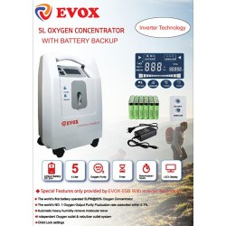 EVOX Battery Operated Oxygen Concentrator with Inbuilt Nebulizer - 5L